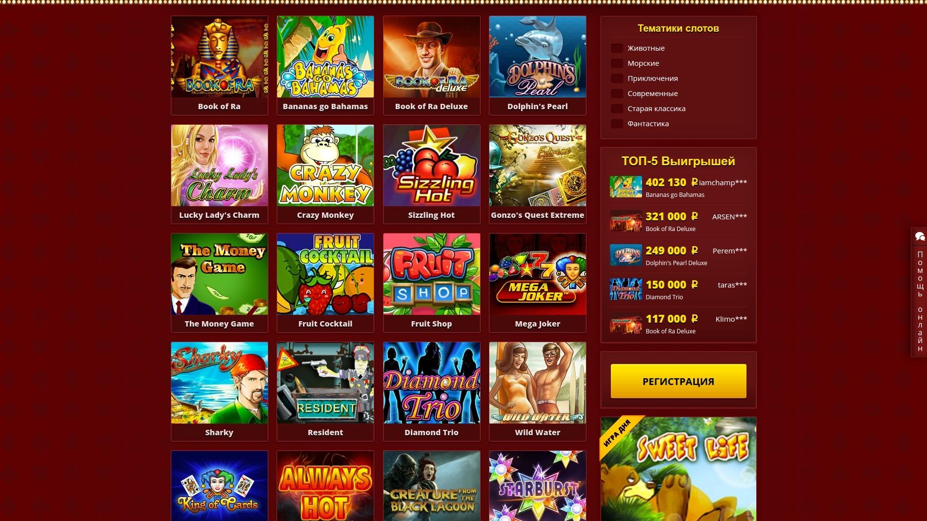 Бонусы на популярных игровых слот автоматах на сайте онлайн казино Максбетслотс