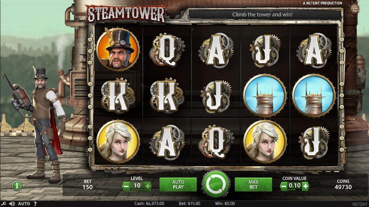 Игровой автомат Steam Tower - на сайте казино Вулкан играть